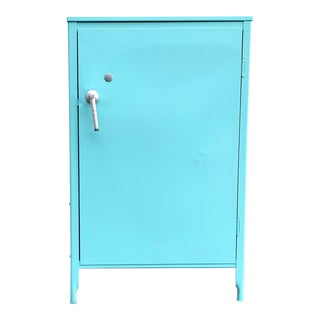 1930s Mid-Century Modern Turquoise Steel Medical Cabinet For Sale