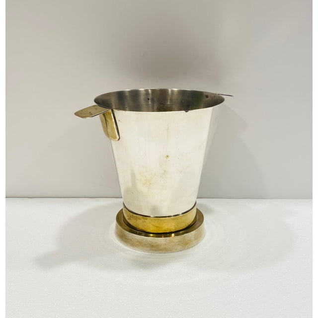 1970's Art Deco Style Wine Cooler and Ice Bucket With Brass Accents, Italy For Sale In Miami - Image 6 of 13