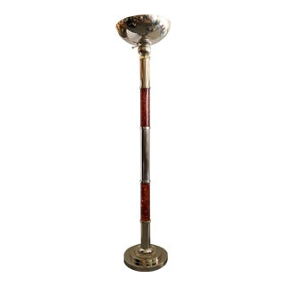 Faux Amber & Chrome Floor Lamp For Sale