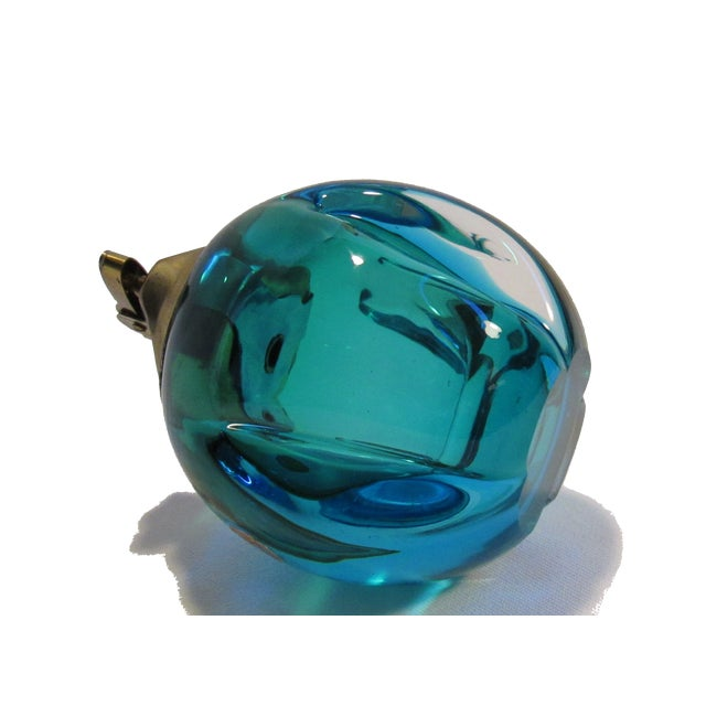 Mid-Century Murano Blue Green Glass Table Lighter - Image 4 of 5