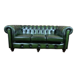 Vintage Mid-Century English Leather Chesterfield 3 Seat Sofa, Green For Sale