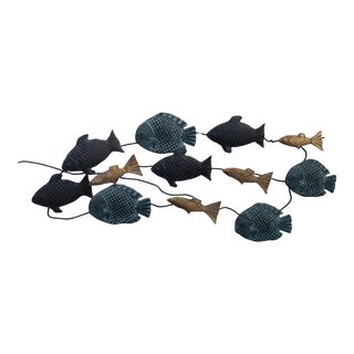 70's Brutalist Hand-Crafted Metal Fish Wall Sculpture