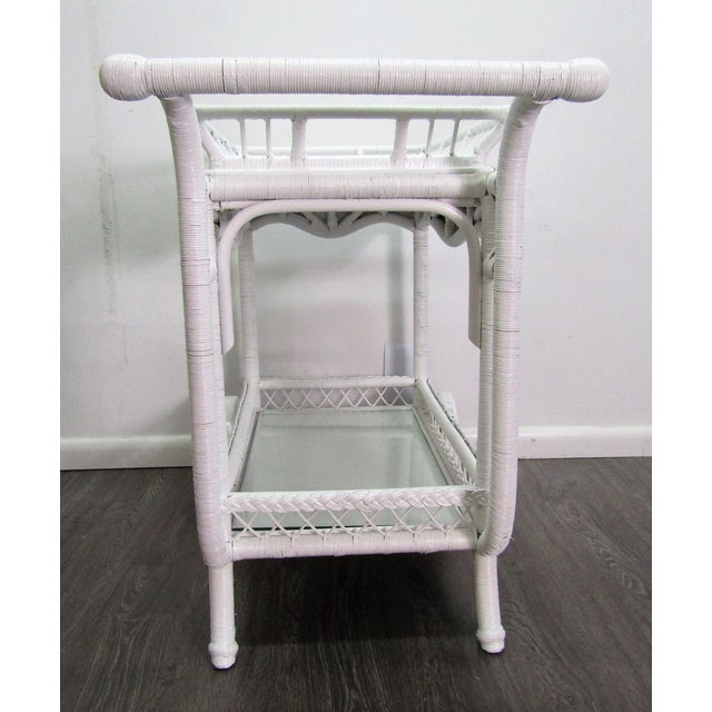 1940s 1940's Wicker Bar Cart in White Lacquer For Sale - Image 5 of 10