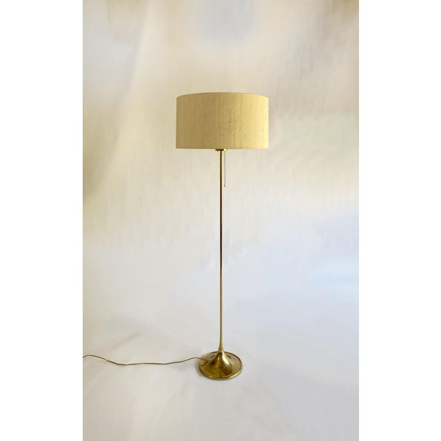 Bergboms Model G-025 Brass Floor Lamp With Silk Shade For Sale - Image 12 of 12