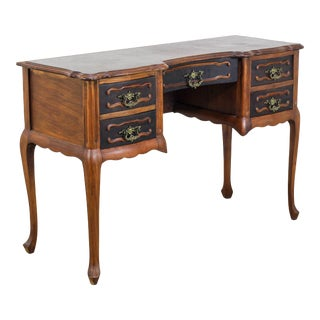 Vintage Mid Century Walnut Five Drawers Writing Desk For Sale