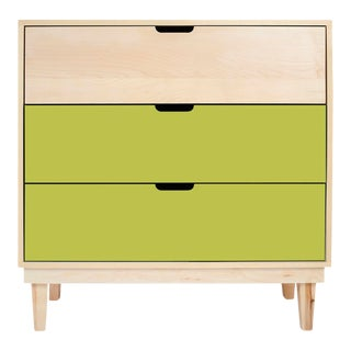 Nico & Yeye Kabano Modern Kids 3-Drawer Dresser Solid Maple and Maple Veneers Green For Sale
