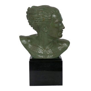 """Bust of Jean Mermoz"" French Art Deco Bronze Sculpture by Lucien Gibert Circa 1930s For Sale"