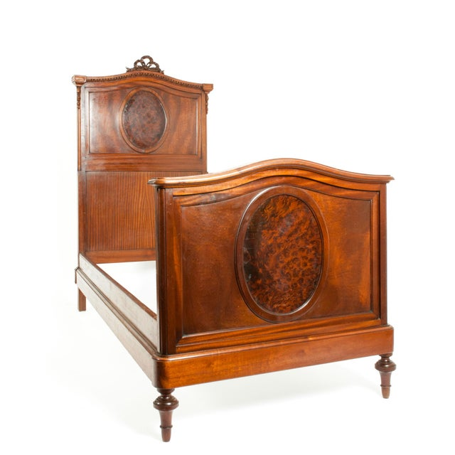 French French Hand Carved Walnut / Burl Walnut Single Beds - a Pair For Sale - Image 3 of 9