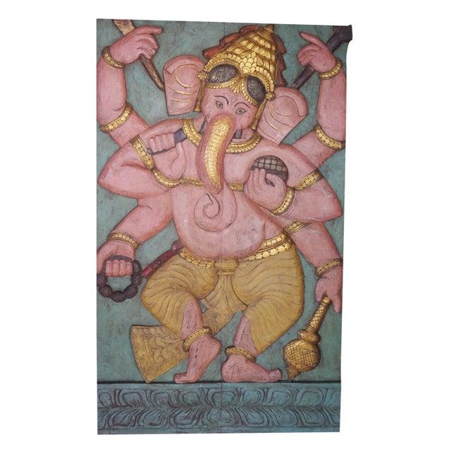 1990s Vintage Ganesha Good Luck Sculpture Carved Panel Door For Sale - Image 5 of 5