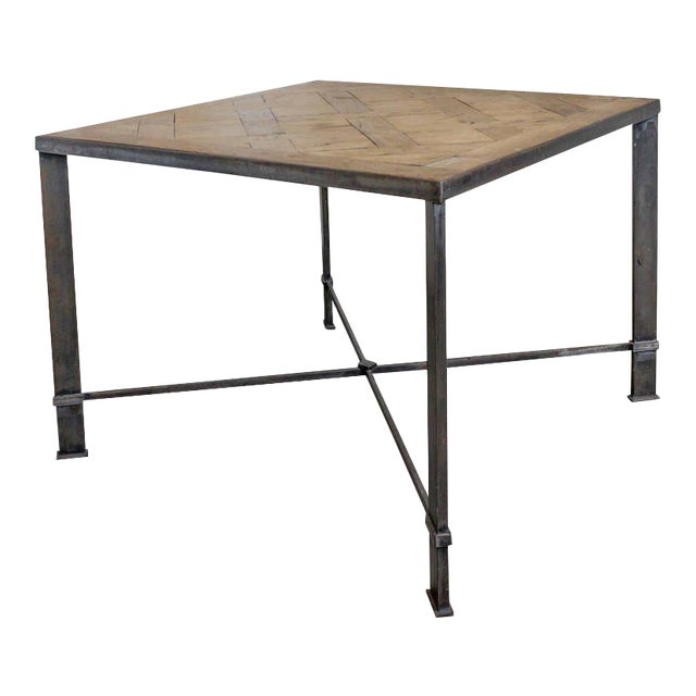 French Iron Table With 19th Century Wood Top For Sale