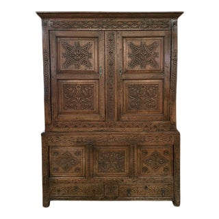 18th Century Carved Walnut Strapwork Linen Press For Sale