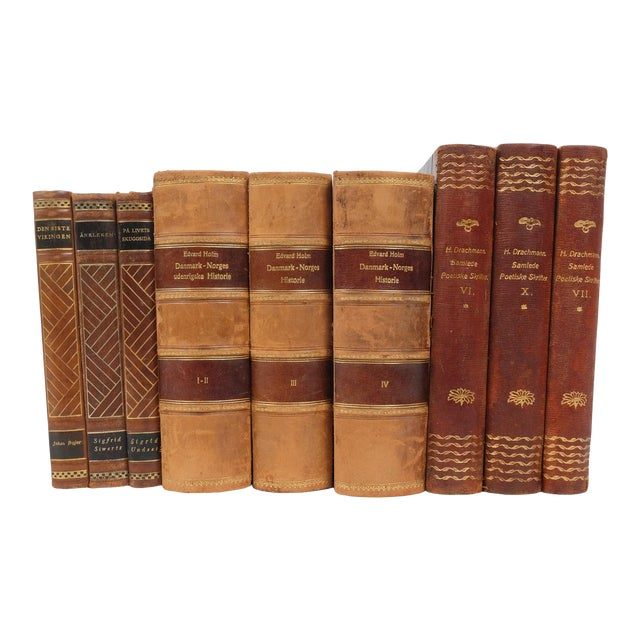 Scandinavian Leather Bound Books S/9 For Sale