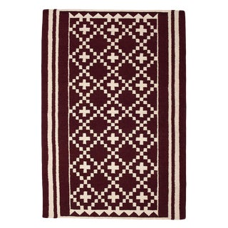Flatwoven Dhhurie Brick Red Graphic Rug 3' X 5'