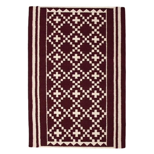 Flatwoven Dhhurie Brick Red Graphic Rug 3' X 5' - Image 1 of 3