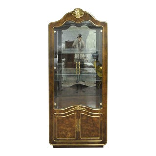 1970s Vintage Mastercraft Amboyna Burl Wood French Hollywood Regency Curio Display Cabinet For Sale