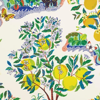 Schumacher X Josef Frank Citrus Garden Wallpaper in Primary For Sale
