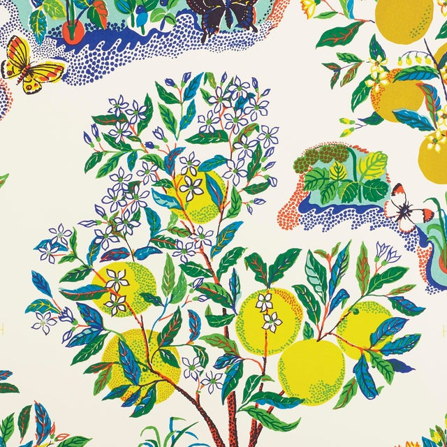 Schumacher X Josef Frank Citrus Garden Wallpaper in Primary For Sale
