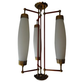 1960s Italian Mid Century Fontana Arte Inspired Brass, Red Enamel and Glass Chandelier For Sale