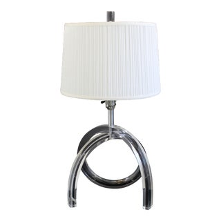 1970s Mid-Century Modern Herb Ritts Astrolite Lucite Pretzel Table Lamp For Sale