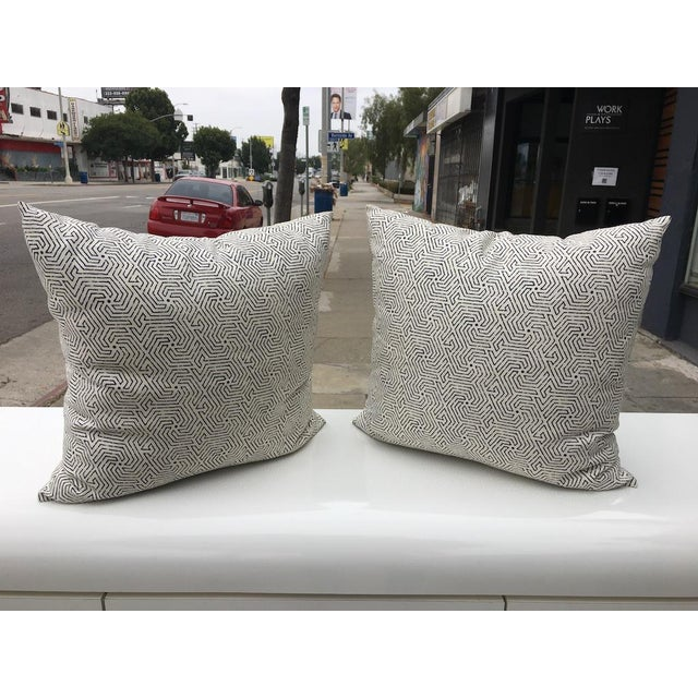 White Custom Cream Linen Navy Geometric Design Pillows - A Pair For Sale - Image 8 of 8