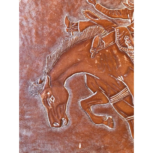 Leather Tooled Cowboy Plaque For Sale - Image 4 of 9