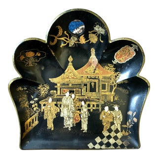 Early 20th Century Antique Chinoiserie Lacquered Papier Mache Tray For Sale