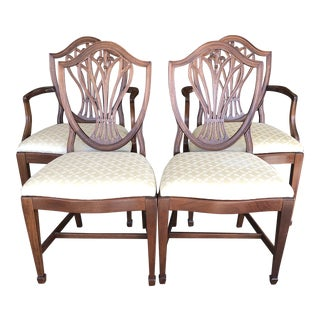 Traditional Shield Back Mahogony + Upholstered Dining Chairs -Set of Four For Sale