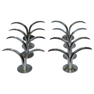 Set of Eight Swedish Brass Candleholders by Ystad Metall For Sale