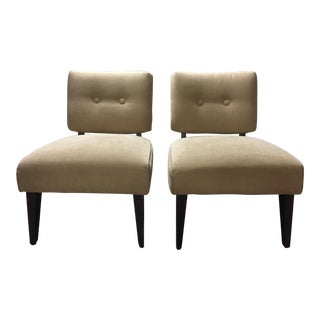 20th Century Art Deco Khaki Side Chairs - a Pair