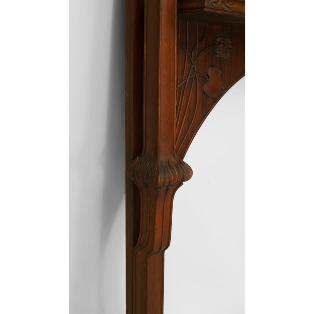 Art Nouveau French Art Nouveau Mahogany Fireplace Mantel For Sale - Image 3 of 5