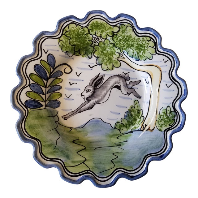 """Charming Vintage Portuguese Hand-Painted """"Le Lapin"""" Scalloped Plate For Sale"""