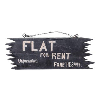 "Handmade ""FLAT FOR RENT"" New England Wood Sign For Sale"