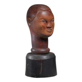 Wood bust sculpture, USA, 1946 For Sale