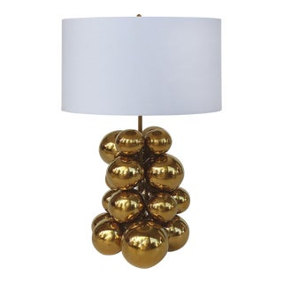 Contemporary Sculptural Brass Balls Table Lamp For Sale