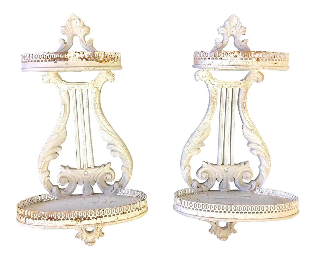Shabby chic wall sconces White 1950s Italian Shabby Chic Wall Sconce With Metal Gallery Rails Pair Chairish 1950s Italian Shabby Chic Wall Sconce With Metal Gallery Rails