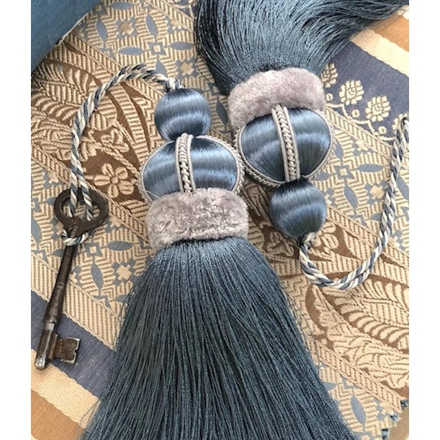 Wood Blue Key Tassel With Cut Velvet Ruche For Sale - Image 7 of 11