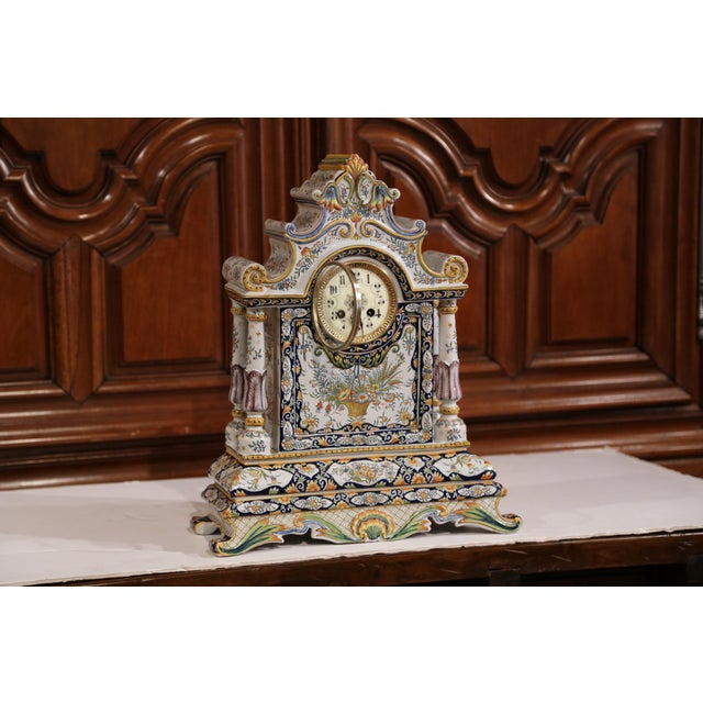 Blue 19th Century French Hand-Painted Ceramic Mantel Clock From Rouen For Sale - Image 8 of 11