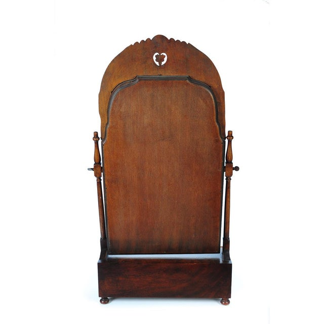 19th Century Carved Walnut Shaving Mirror For Sale - Image 5 of 9