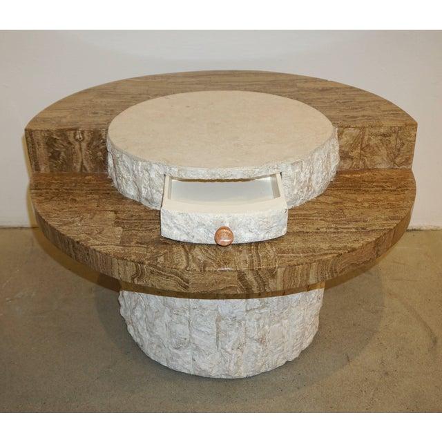 Marzio Cecchi 1970s Marzio Cecchi Italian Vintage White and Ochre Stone Round Side/Sofa Table For Sale - Image 4 of 12