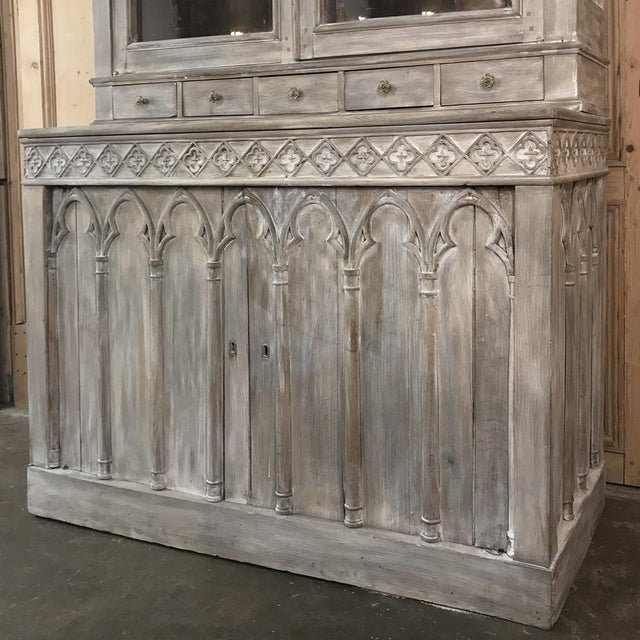 19th Century French Gothic Whitewashed Bookcase For Sale In Dallas - Image 6 of 13