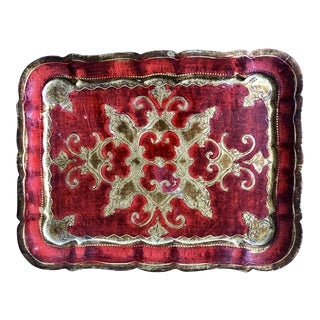 Vintage Red Gold Florentine Tray