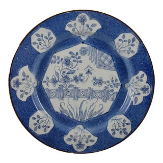 18th Century English Bristol Delftware Blue & White Deep Charger