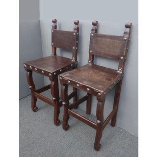 Vintage Spanish Style Rustic Brown Leather Bar Stools W Large Clavos - a Pair Preview