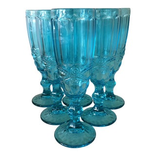 Turquoise Blue Boho Chic Champagne or Cocktail Glasses - Set of 6 For Sale
