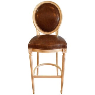 Louis XVI Style Painted Oval Back Bar Stool for Custom Order For Sale