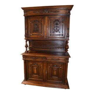 Antique Carved Tudor Style Court Cupboard/Hutch/Sideboard - 3 Pc. For Sale