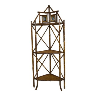 Late 19th-Century Fancy Bamboo Corner Etagere For Sale