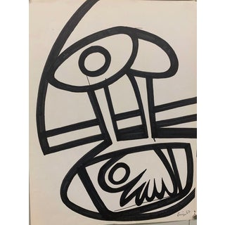 Abstract 6 Ink Brush Drawing 1967 Black and White Original Art
