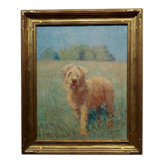 Henry Grinnell Thomson-Portrait of a Beautiful English Terrier in a Landscape-Oil Painting For Sale