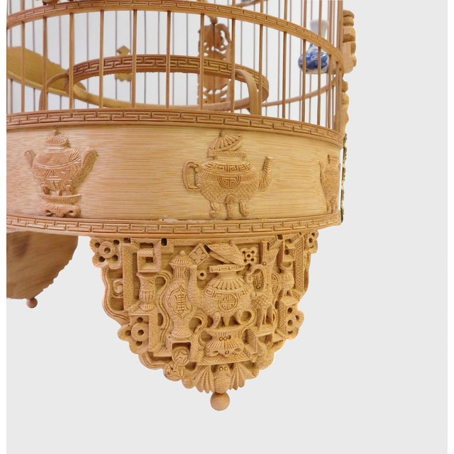 Bamboo Floral Carved Birdcage For Sale - Image 4 of 9